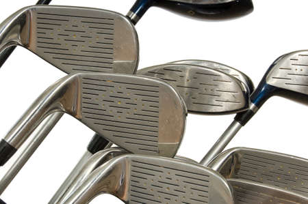 Closeup view of golf clubs in bag on white background Stock Photo