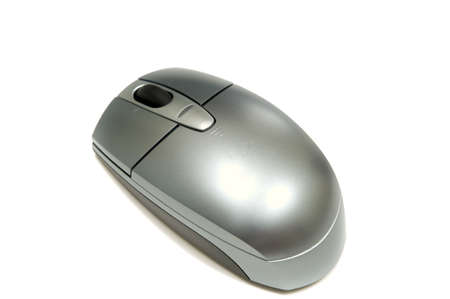 backgound: Silver wireless mouse on white backgound