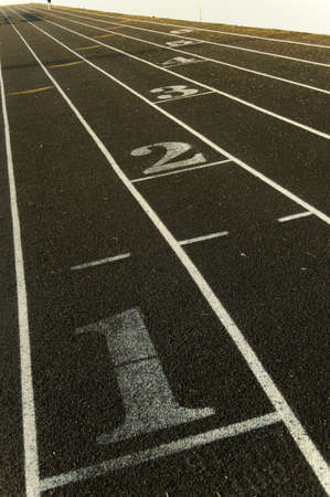 lane markings on a track beginning with the number 1 photo