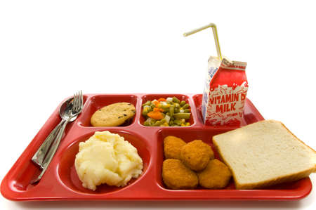 School lunch tray on white background photo