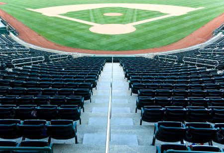 baseball diamond: Empty seats at a baseball stadium