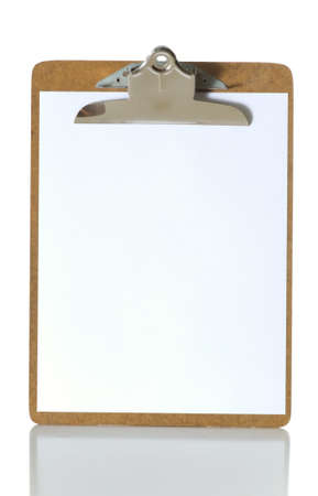 Blank clipboard on white background with reflectoin on table, copy space Stock fotó