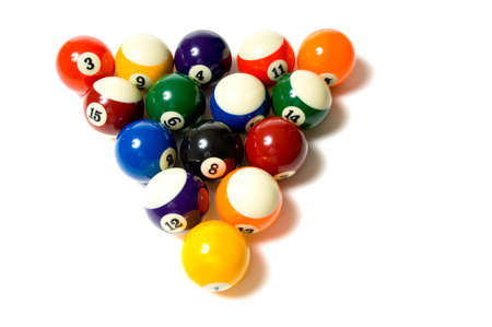 lined up: Brightly colored, new pool balls or billiard ballsl on white background, lined up in triangle