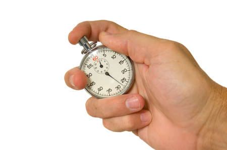Mans hand holding vintage stopwatch on white background