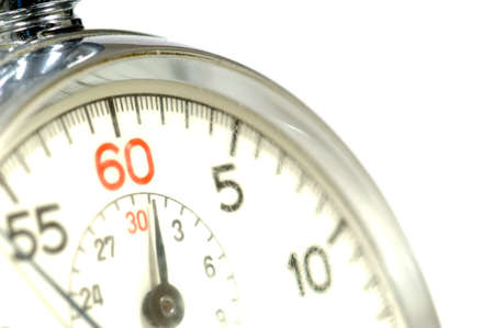appear: Close-up of 60 second stop watch- crystal of watch is scratched so numbers appear soft but image is in focus Stock Photo
