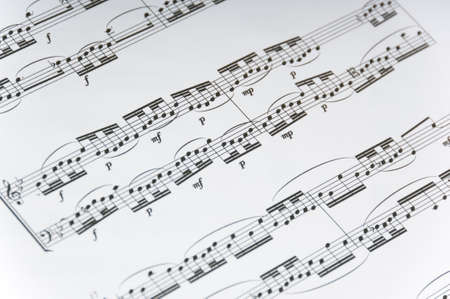 Sheet music backround, violin or piano music, with notes cleffs and bars and measures Stock Photo