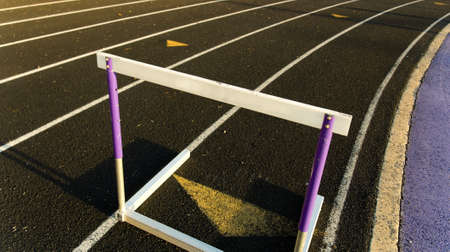 Running track with hurdle positoined for a race Banco de Imagens - 1559111
