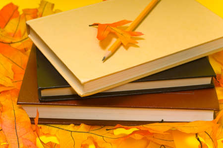 bind: School books and autumn decorations including a pencil and oranges oak leaves