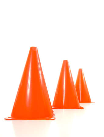 Orange traffic cones lined up in a row, warning cones