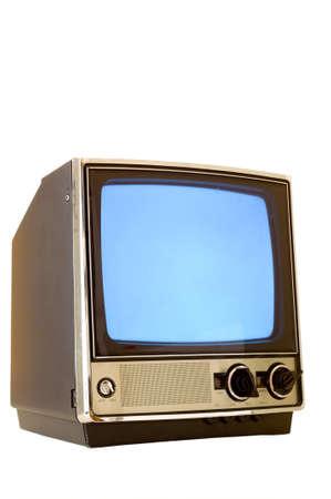 the switch: Vintage televisore acceso con schermo nevoso, schermo poteva essere utilizzato per lo spazio di copia, su sfondo bianco