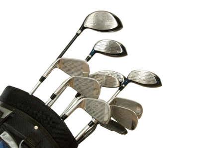 shafts: Set Golfschl�ger auf wei�em Hintergrund, darunter Eisen-, Metall-und Holz Putter in einer Golftasche Lizenzfreie Bilder