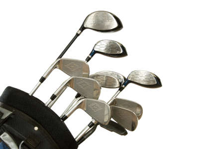 shafts: Set of Golf clubs on white background, including irons, metal woods and a putter in a golf bag
