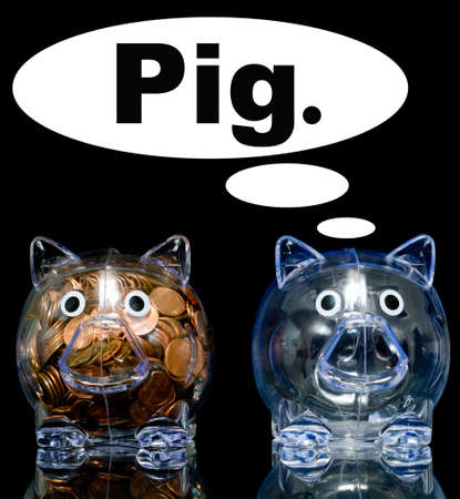 Two clear acryllic piggy banks one stuffed full of american pennies the other empty, Illustration of the haves and the have nots.  one pig is jealous the thought bubble can be filled with whatever you like illustration
