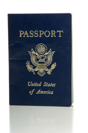 United Sated or American government issued passport on white background