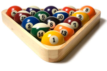 pool ball: Brightly colored pool ball in a wooden rack on white background Stock Photo