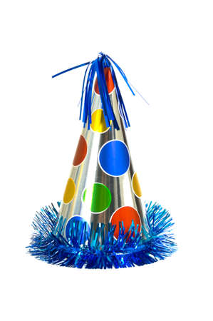party hat: Brightly colored party hat on white background