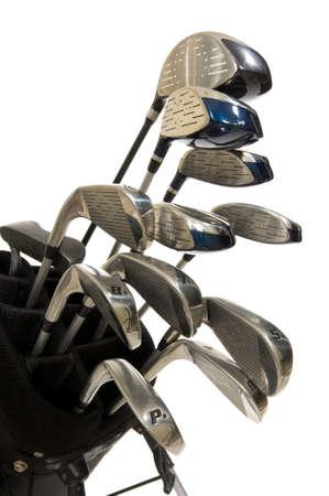 full Set of modern golf clubs on white background Imagens