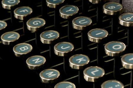 close-up of old, antique, vintage typewriter keys photo