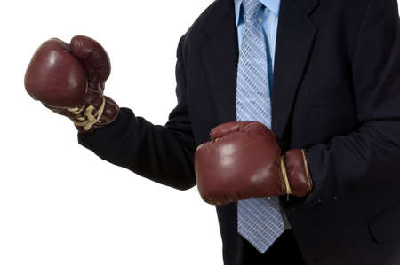 padding: Business man with a business suit and boxing gloves, symbol of competition in business or the challenge in business from competitors and elsewhere