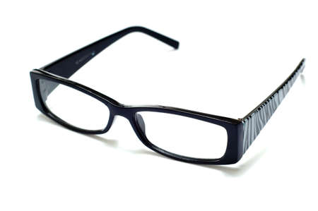 striping: Black plastic frame glasses with zebra striping on side on white background
