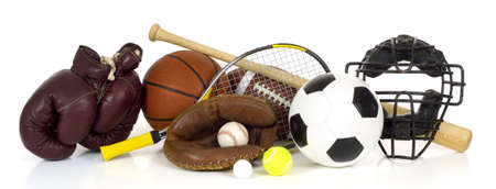 catchers mitt: Variety of sports equipment on white background with copy space, items inlcude boxing gloves, a basketball, a soccer ball, a football, a baseball bat, a catchers mitt or glove, a tennis racket and ball, a golf ball, and a baseball catchers mask