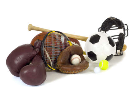 catcher's mitt: Variety of sports equipment on white background with copy space, items inlcude boxing gloves, a basketball, a soccer ball, a football, a baseball bat, a catchers mitt or glove, a tennis racket and ball, a golf ball, and a baseball catchers mask