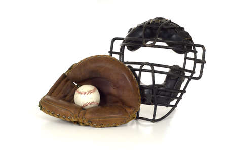 catchers mitt: Baseball Catchers gear on white background including a mitt, ball and face mask Stock Photo