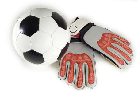 goal keeper: Soccer - Football items on a white background including a soccer or football and goal keeper gloves