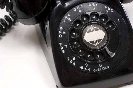 Vintage Black deskphone on white background