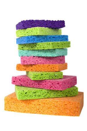 scrubber: A stack of mulitcolor sponges with copy space, spring cleaning or cleaning supplies