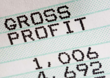 fundamentals: Closeup of profit and loss statement of business or sales person Stock Photo