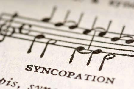 イラストと音楽用語シンコペーション 写真素材