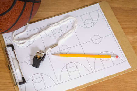 whistling: Basketball Coaches Items Stock Photo