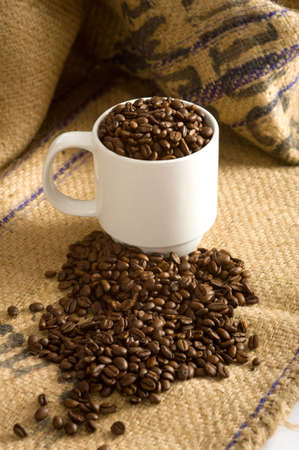 A white cup full of roasted coffee beans on a burlap coffee bean bag.  Background with copy space Stock Photo - 3038373