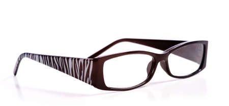 Trendy reading glasses with zebra pattern on a white background