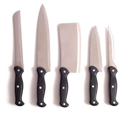 白い背景上でプロのシェフのナイフ セット 写真素材