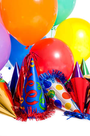 party hat: Birthday party background with party hats, floating balloons and streamers