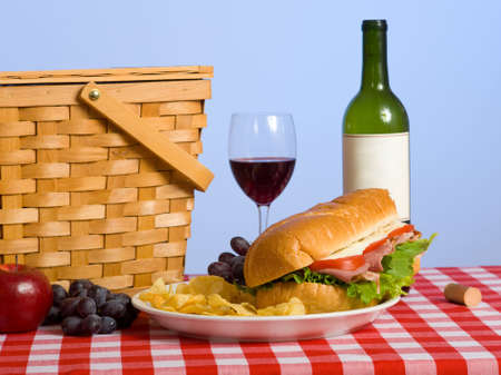 A picnic lunch on a red and white gingham tablecloth including a sandwich, chip, grapes wine and a picnic basket in front of a blue sky background