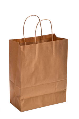 kraft: A brown kraft paper bag or sack with copy space on a white background