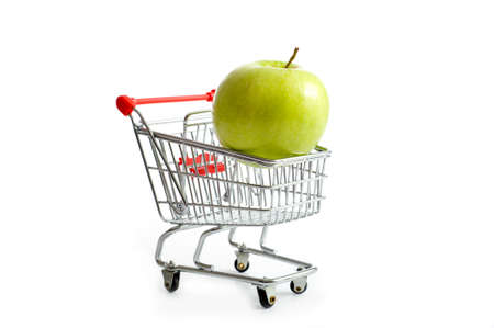 shopping buggy: Shopping cart with apple Stock Photo