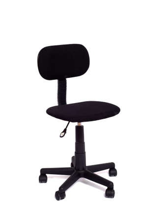 A black office chair on a white background