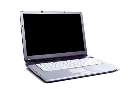 A grey laptop computer on white background with a clipping path for the screen area.
