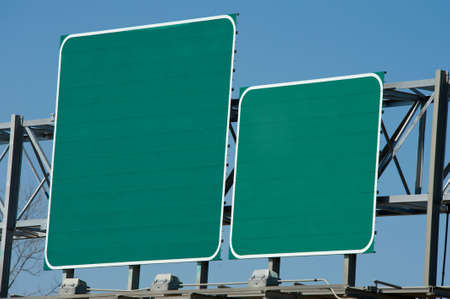 blue green background: Blank Green highway or road signs with copy space