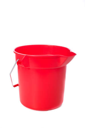 A red bucket or pale on a white background