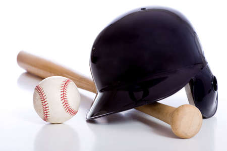 Baseball items on a white background including a batting helmet a wooden baseball bat and a baseball