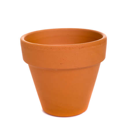 cotta: An orange, generic terra cotta flower pot or plant container on a white background