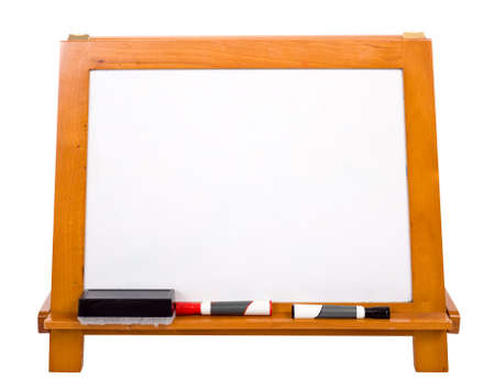 dry erase: A blank white markerboard on a white background with copy space.