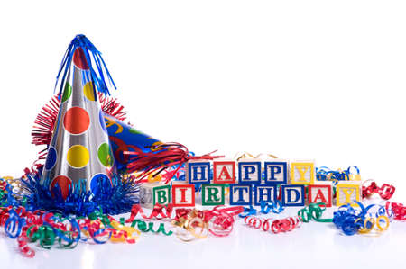 blue background: Happy Birthday blocks on a white background with copy space, including a party hat and streamers.