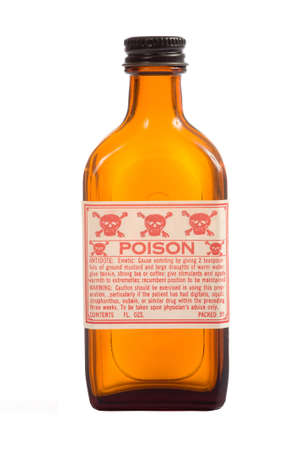 An antique brown prescription bottle with poision caution and copy space on a white background photo