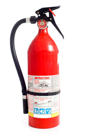 fire extinguisher: A red fire extinguisher on a white background